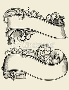 Engraved Scrollwork Banners Royalty Free Stock Vector Art Illustration