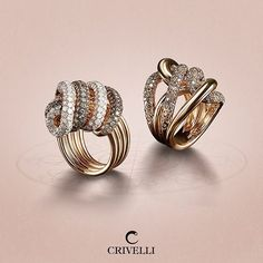 Fates are bonded and tangled together. #crivelli #rings #jewelry #pinkgold #brilliants