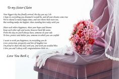 A4 POEM TO SISTER ON HER WEDDING DAY IDEAL FOR FRAMING BEAUTIFUL MEMENTO