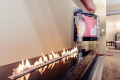 Fire Line Automatic by #Planika.  Planika had the pleasure of presenting its automatic fireplace in collaboration with #RES Italia - the excellent Italian brand creating bespoke furniture.