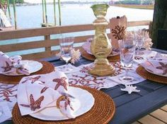 "Brown Starfish Linen Napkins - like this look! ""beach"" doesn't always have to be blue"