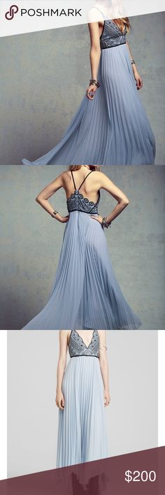 """Free People Belle of the Ball Maxi Dress, blue i purchased this dress from Poshmark a few weeks ago for $225, but it was misrepresented.  It has a few flaws, but most should be simple to fix. 1) the bottom is discolored, could be hemmed or dry cleaned  2) the fabric is nicked in a few places 3) the bust is a bit stretched  length: 44"""" (front) 52"""" (back of dress to account for train)  straps aren't adjustable.  technically a size small but it's on the larger side, wouldn't recommend if you…"""