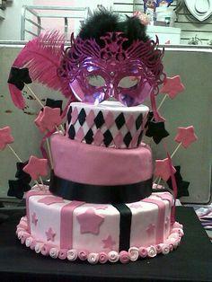 fondant cake pink mask