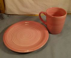 "Studio 33 Holiday Home Pink & Orange Swirl 8 1/4"" Rim Plate 14oz Coffee/Tea Mug  #HolidayHome"