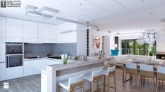 Jasny salon - Średnia otwarta kuchnia w kształcie litery g, styl nowoczesny - zdjęcie od APP TRENDY Autorska Pracownia Projektowa Luxury Kitchens, Kitchen Lighting, Kitchen Interior, Sweet Home, House Design, Dining, Interior Design, Wall, Furniture