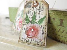 Rose Tags Gift Tag Hang TagsVintage Rose Tags Old by TanaBarisoff, $3.75