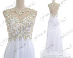 2014 Prom Dresses White Prom Dresses Straps Lace/ by Formals