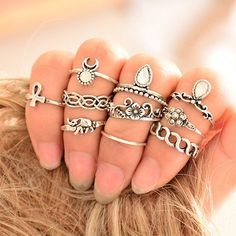Vintage Boho 10-piece Ring Set - Rebel Style Shop - Channel your inner Boho chic with this vintage-style ring set. Featuring popular Bohemian symbols, these will transform your look to a gypsy-inspired ensemble.