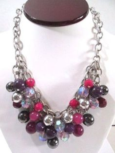 NECKLACE-BERRY-TONE-BAUBLES-BEADED-ON-CHAIN-CONTEMPORARY-FASHION-CHUNKY-BEADS