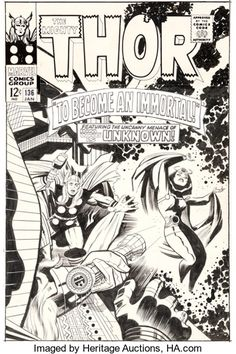 Original Comic Art:Covers, Jack Kirby and Vince Colletta Thor #136 Cover Original Art(Marvel, 1967) - W,B,