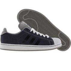 Adidas Superstar OP shoes in navy, aluminum, and runninwhite.