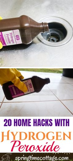 diy home cleaning Here are some really good ways to make use of hydrogen peroxide in your home. Cleaning has just gotten cheaper and easier. Besides, hydrogen peroxide is way less harmful than bleach and some other cleaners. Diy Home Cleaning, Household Cleaning Tips, Deep Cleaning Tips, Toilet Cleaning, Cleaning Recipes, House Cleaning Tips, Natural Cleaning Products, Cleaning Solutions, Spring Cleaning