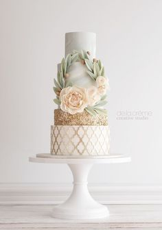 Elegant mint, peach, and gold cake. Created by De la Creme Studio.