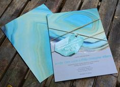Agate gem wedding invitation with hangtag RSVP card by Lucky Invitations.