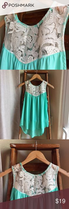 Turquoise and lace sleeveless blouse Beautiful top, only worn once. Excellent condition. Lace in perfect shape. Purchased at Nordstrom. Nordstrom Tops Blouses