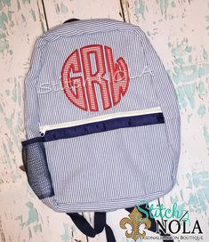 Navy Seersucker Backpack with Monogram Applique - pinned by pin4etsy.com