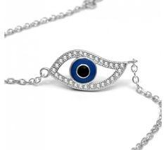 Trendy evil eye bracelet with enamel blue evil eye and cz stones. This sterling silver evil eye bracelet can be adjusted Evil Eye Bracelet, Hamsa, Sapphire, Enamel, Sterling Silver, Chain, Eyes, Stone, Bracelets