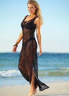 Black crochet maxi dress cover up Beach Dresses, Trendy Dresses, Mode Du Bikini, Beach Attire, Swimsuit Cover Ups, Crochet Clothes, Crochet Dresses, The Dress, Beachwear