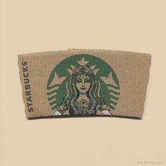 Café e arte! Ilustrador transforma a logo da sereia do Starbucks em diversos personagens pop inspirados em filmes, livros, séries. Conheça o sleevebucks!