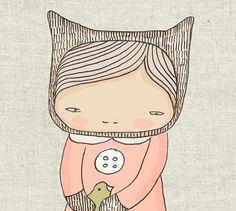 Children Art Print Elka Bear Girl and the Birds - Illustration