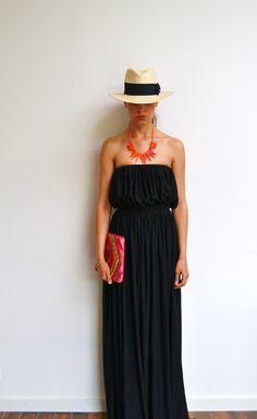 Maxi robe longue noire bustier en jersey et maxi dress fluide droite style hippie chic et bohème : Robe par menina-for-mathis