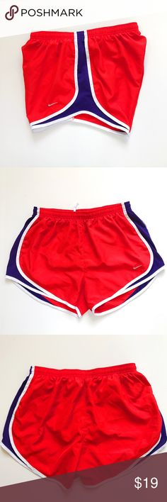 Nike // Tempo Run Shorts Red Purple White Red, dri-fit running shorts with royal purple side vents and white trim. Lined. Adjustable drawstring at waist. Embroidered logo. Excellent used condition. trades smoke free home Nike Shorts