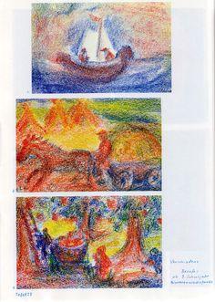 Tafel 23: Malwerke in Bienenwachsfarben: Berufe 01 (ab 3. Schuljahr) oben: 1. Beruf: Fischer, Bootsfahrer Mitte: 2. Bauer auf Pferdefuhrwerk mit Getreide beladen, Getreidestöcke im Hintergrund in Orange unten: 3. Koch mit Feuerstelle und Bäumen mit roten Früchten, oder Zaubertrankhersteller