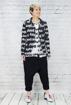 """Rundholz cotton jersey fitted jacket with one side panel and sleeve in cotton mesh of the same colour and print. Which is from Oscar Wilde, """"The Canterville Ghost"""". Pockets and buttons fastening. This jacket is a neat fit. 100% cotton. Looks great worn with black harem trousers"""