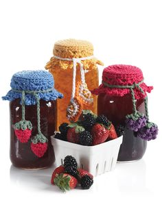 Canning Jar Toppers - yarnspirations.com - free pattern, crochet project