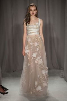 Marchesa Spring 2014 - love the flowers on the skirt!