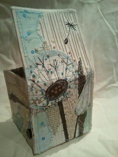 Beautiful covered box, embellished with free motion embroidery . Free Motion Embroidery, Embroidery Stitches, Hand Embroidery, Machine Embroidery, Textile Fiber Art, Textile Artists, Fabric Boxes, Fabric Scraps, Art Du Fil