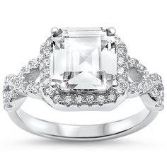 Halo Wedding Engagement Ring Infinity Accent Asscher Round CZ 925 Sterling Silver Choose Color