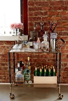 "Visit our website for additional relevant information on ""bar cart decor inspiration"". It is an exceptional area to find out more. Diy Bar Cart, Bar Cart Styling, Bar Cart Decor, Mini Bars, Black Bar Cart, Gold Bar Cart, Bar Antique, Bandeja Bar, Bar Trolley"