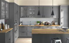 Maple Cabinets, Grey Kitchen Cabinets, Kitchen Dining, Kitchen Island, Dining Room, Kitchen Organization, Kitchen Interior, Home Projects, Decoration