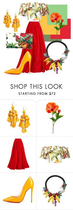 """""""Hibiscus Princess"""" by ashleyvarma ❤ liked on Polyvore featuring Kate Spade, Reem Acra, Isolda, Christian Louboutin, La Hormiga and Dolce&Gabbana"""