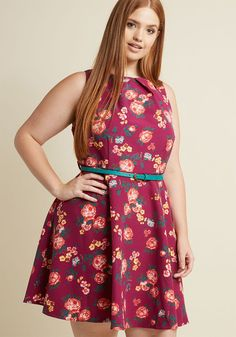 Sleeveless Belted Fit and Flare Dress in Fuchsia Floral in XS - A-line Knee Length - Plus Sizes Available