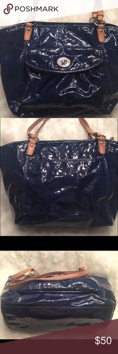 LARGE COACH Leah Embossed Patent Tote COACH#L0973-F14663. Liner has some faint stain shown in pic. Straps has some patina and a little wear on the seam shown in pic. No scuffs on the corners and there's real small white paint mark on the back. Measures 11x16 Coach Bags Totes