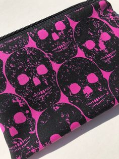 Numb Skull Zipper Pouch: Pink and Black.
