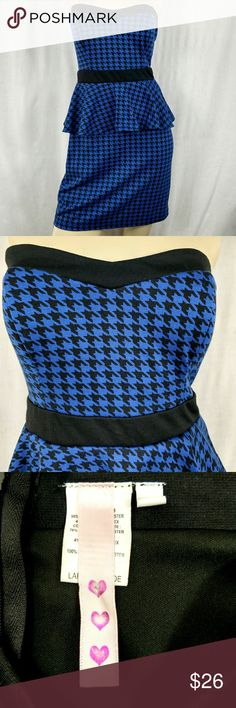 Strapless Peplum Large dress. New without tags. Houndstooth Pattern. Dresses