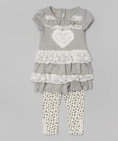 Gray Heart Ruffle Tunic & Leopard Leggings - Toddler & Girls by Nannette Girl #zulily #zulilyfinds
