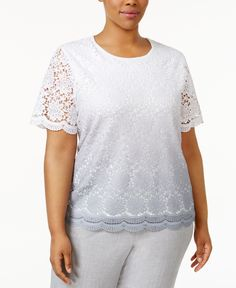 d027e9f9f6c Alfred Dunner Plus Size Rose Hill Collection Lace Short-Sleeve Sweater