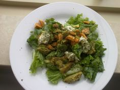 Yummy salad with follow your heart cheese(vegan), and Dr Praeger's veggie burgers