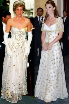 Diana in a dress by the Emanuels at a dinner at the German Embassy in London in 1986; Kate at an official dinner hosted by Malaysia's Head of State in Kuala Lumpur during the Diamond Jubilee Tour in September 2012.