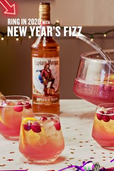 Some use a new year to set new resolutions. We use it to set new resolutions AND make New Year's Fizz, a Captain Morgan cocktail perfect for all your party guests. HOW TO MAKE (Serves In a large punch bowl, combine: 1 large bag of ice, 5 cups cranbe New Year's Drinks, Party Drinks, Cocktail Drinks, Fun Drinks, Yummy Drinks, Alcoholic Drinks, Christmas Drinks, Holiday Drinks, Holiday Recipes