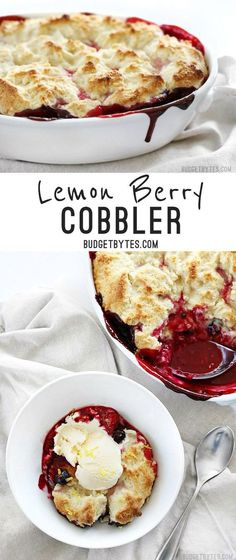 Lemon Berry Cobbler is the fastest and easiest way to sweet satisfaction #cobbler #dessert #dessertrecipes #lemon #berry #berries #brunch #breakfast #breakfastrecipes
