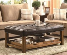 Coffee Table With Padded Leather Top