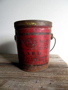Antique Primitive Lard Tin with Handle 3 Lb Red St. Louis MO | Etsy Antique Decor, Vintage Decor, Vintage Gifts, Vintage Items, St Louis Mo, Glass Candlesticks, Deep Red Color, Tin Boxes, Vintage Advertisements