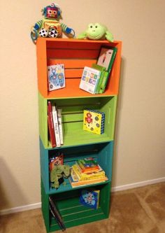 24 Ideas for wooden crate shelves kids bookshelves Crate Bookshelf, Bookshelves Kids, Bookshelf Ideas, Organizing Bookshelves, Diy Wooden Crate, Wooden Crates, Diy Storage, Diy Organization, Storage Ideas