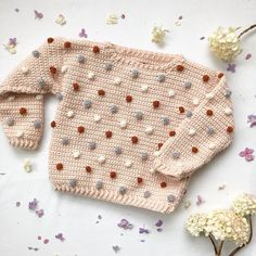 Ravelry: Tiny Dots of Love Jumper pattern by Little Golden NookThousands of stunning crochet patterns to choose from. Crochet blankets, scarves, hats, toys and more.This pattern is a mini version of my women's A Whole Dot of Love Jumper, designed w Baby Scarf, Baby Cardigan, Baby Jumper, Crochet Jumper, Knit Crochet, Crochet Baby Sweaters, Jumper Patterns, Christmas Knitting Patterns, Crochet Patterns Baby