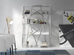 Bibliothèque. Mod. MIAMI Miami, Shelving, The Unit, Home Decor, Glass Shelving Unit, Steel Structure, Drawing Rooms, Shelves, Shelving Racks